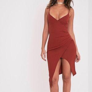 PrettyLittleThing Lauriell Tobacco Wrap Midi Dress